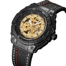 Nouvelle mode Sport décontracté automatique mécanique montres hommes horloge marque de luxe en cuir noir bracelet squelette en acier hommes montre