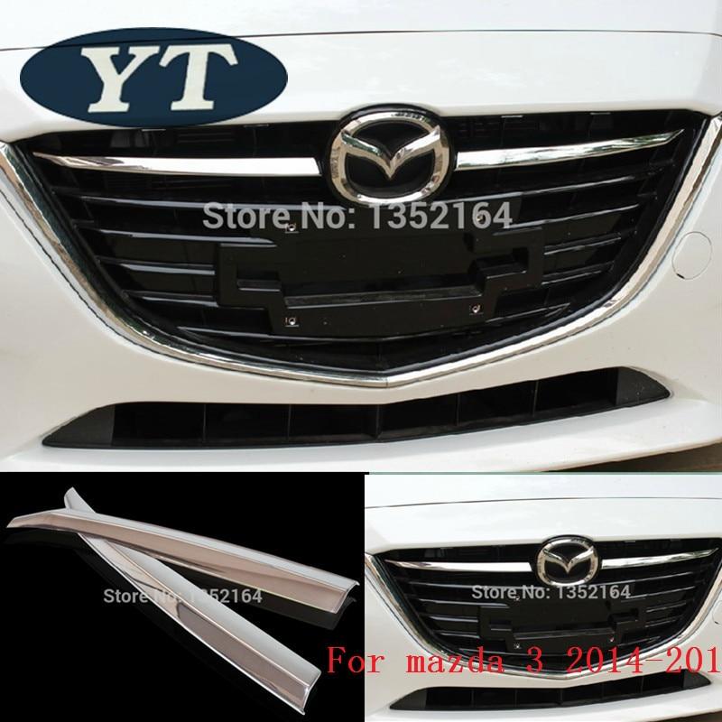 Első rácsos burkolatok a Mazda 3 2014 2015 2016-hoz, ABS króm, 2 db / készlet, automatikus külső kiegészítők