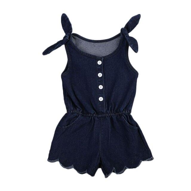 09ba55012e1 2017 Denim Newborn Baby Girl Romper Fashion Kids Girls Sleeveless Dark Blue  Button One Pieces Jumpsuit Playsuit Children Clothes