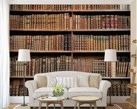 Пользовательские Ретро обои, книжный шкаф росписи для изучения гостиной диван стены спальни украшения Papel де Parede