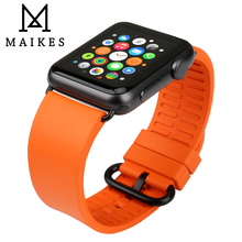 MAIKES Watch Accessories Silicone For Apple Strap 44mm 40mm fluorocarbon Rubber iWatch 4 3 2 1 Band 42mm 38mm
