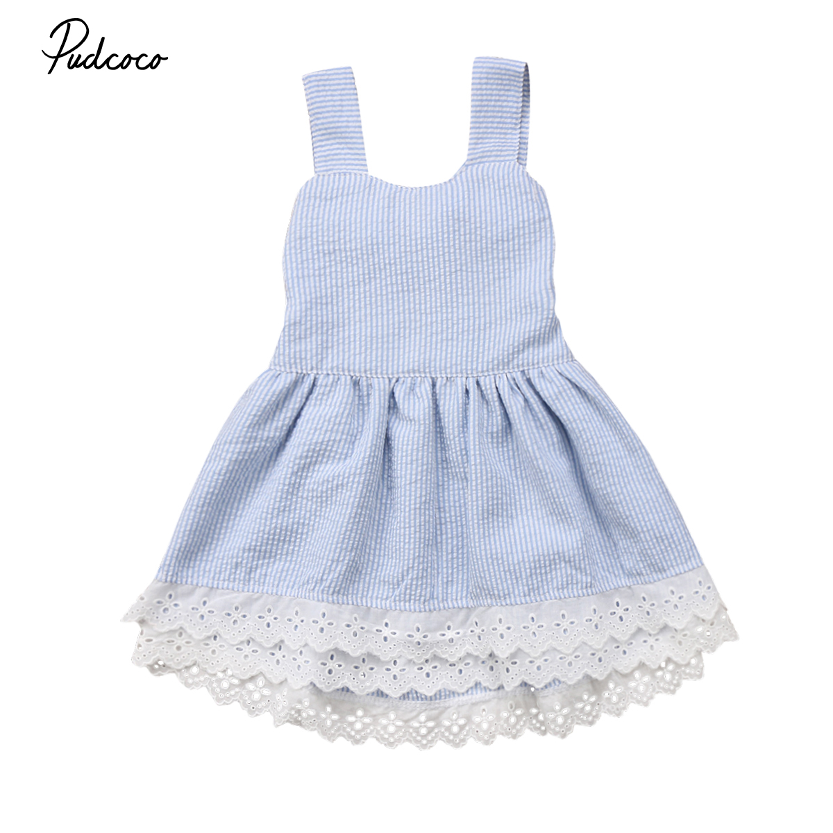 Summer Kids Baby Girls Princess Party Dress A-Line Sleeveless Tutu Striped Backless Bowk ...