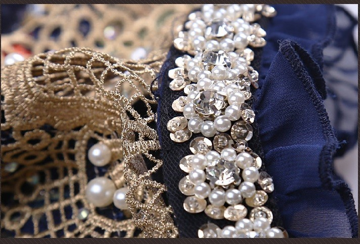NEW 2017 Women elegant fashion Lace casual women blouse Diamond beaded lace chiffon shirt women clothes top 3115