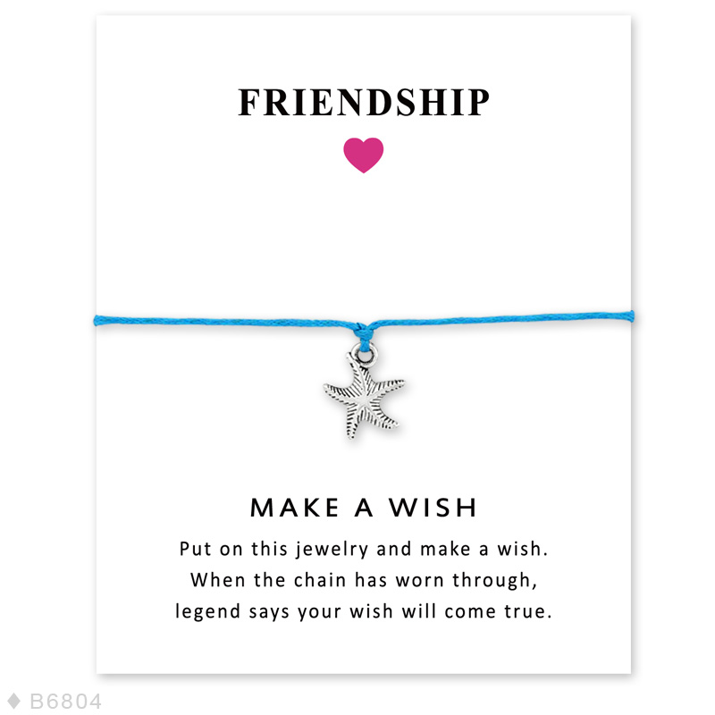 Girls Summer Vacation Adjustable Friendship Statement Ocean Beach Jewelry with Card Silver Starfish Charm Bracelets for Women