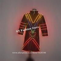EC98 красочные светодио дный свет куртка диджея вечерние Подиум носит одежду dj dresss Световой светящийся наряды бар производительность пальто