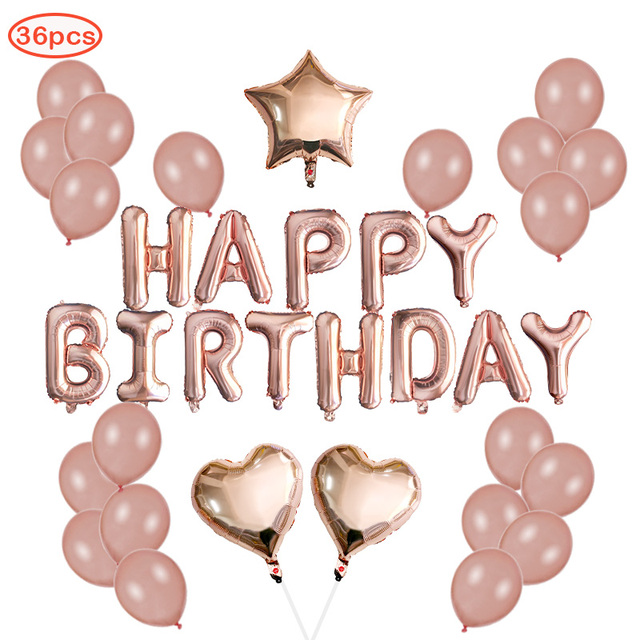 36pcs Rose Gold Happy Birthday Balloons Decorations Party Supplies Latex And Star HAPPY BIRTHDAY Leters