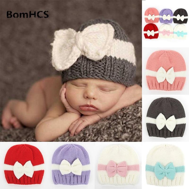 BomHCS Newborn Baby Boy Girl Bowknot Winter Warm Knitted Hat Crochet Beanie Cap 6 colors newborn infant baby toddler boy girl bowknot winter warm soft knit hat kid crochet beanie cap 0 1t