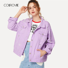 COLROVIE Ripped Drop Shoulder Women Denim Jackets Black White Oversize Purple Casual Female Jacket Coat Chic Jacket for Girls(China)