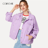 COLROVIE Ripped Drop Shoulder Women Denim Jackets Black White Oversize Purple Casual Female Jacket Coat Chic Jacket for Girls