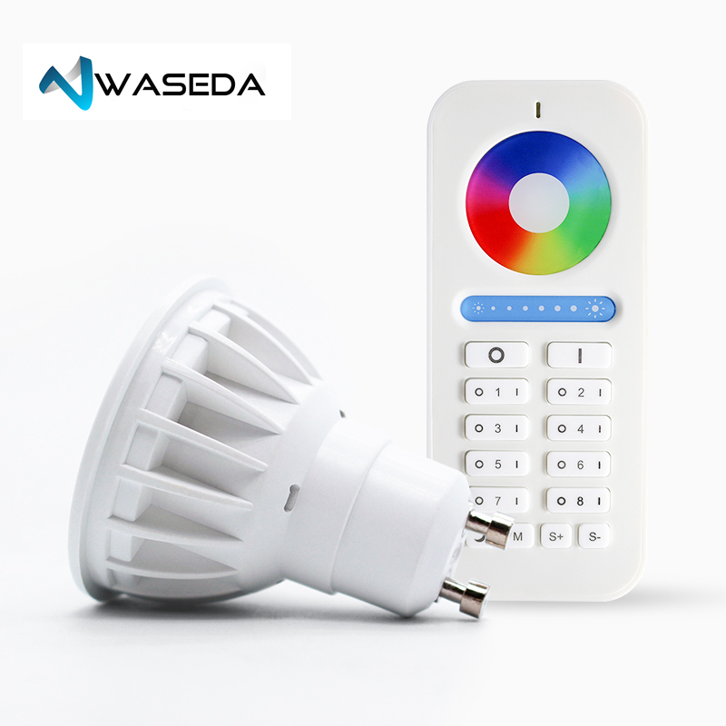 Waseda GU10 spot light DC12V 2.4G Wireless Dimmable Led Bulb RGB+CCT Led Spotlight Smart Led Lamp DC12V 5W GU10 led lightbulb стоимость