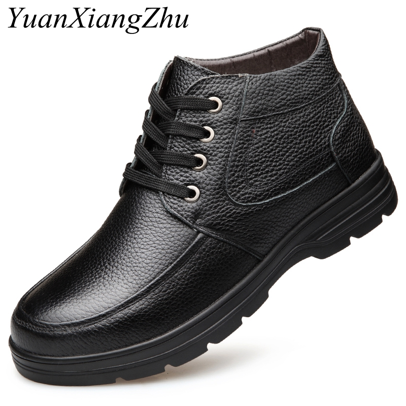 Fashion Warm Winter Men Boots Genuine Leather Boots Men Winter Shoes Man Plush Inside Work Boots For Men Shoes Zapatos Hombre men boots plush warm men shoes winter pu leather winter boots men winter shoes