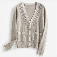 Высокого качества чистый кашемир вязать Женская мода v образным вырезом одного breated свитер розовый 4 цвета один и более размер