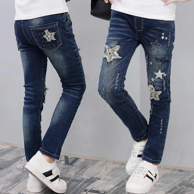 e0d8325e5bcc Girls brand jeans 2019 new patchwork girls pants toddler classic trousers  for 3 to 13years children