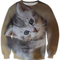 Cute kitten Printed Sweats Crewneck Cat Lovers Sweatshirt  Tees Fashion Clothing Pullover Outerwear Jersey Jumper Women/Men