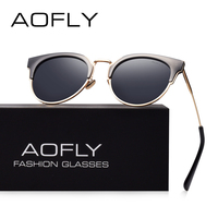 AOFLY Fashion Half Metal Sunglasses Women Original Brand Designer Cat Eye Sun Glasses Female High Quality