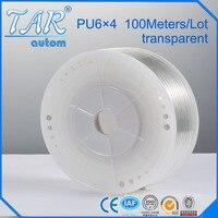 100m/piece High Quality Pneumatic Hose PU Tube OD 6MM ID 4MM Plastic Flexible Pipe PU6*4 Polyurethane Tubing transparent color