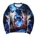 Space / galaxy 3d sweatshirt mens hoodies 3d harajuku style funny pressure nightfall trees sudaderas hombres 2015 Free Shipping