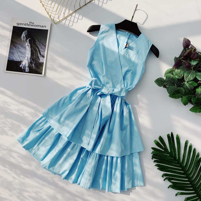 Korean Vintage Pure V Collar Sleeveless High Waist Bow Tie Double Ruffle Holiday Dress Women Vestidos E348 55