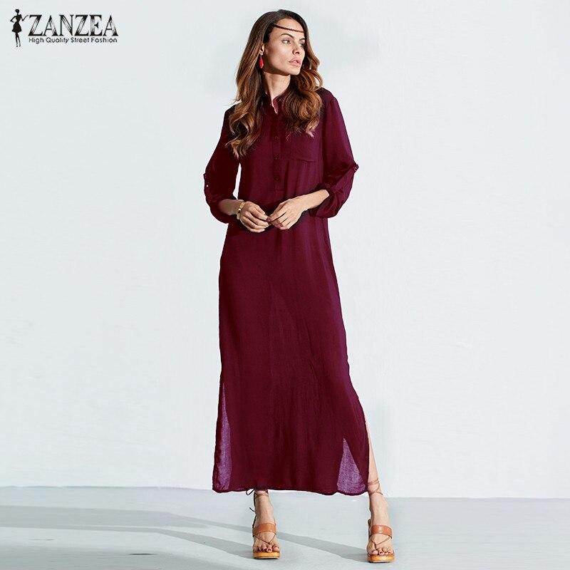 Vestidos 2017 zanzea mujeres retro largo dress elegante atractivo de las señoras