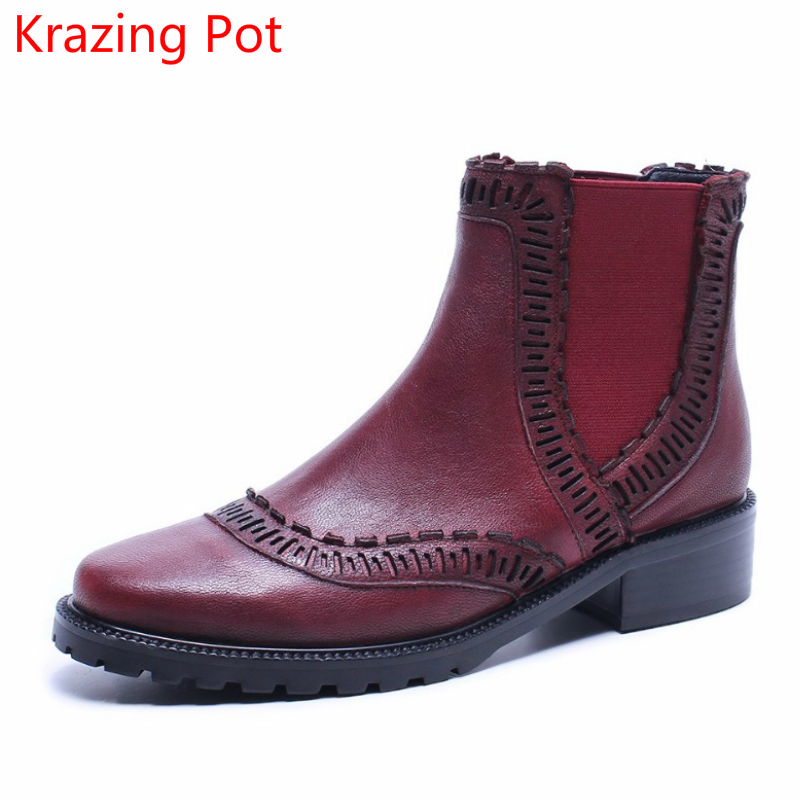 2018 Fashion Genuine Leather Slip on Winter Boots Women Superstar Round Toe Thick Heel Pregnant Handmade Chelsea Ankle Boots L04 nayiduyun women genuine leather wedge high heel pumps platform creepers round toe slip on casual shoes boots wedge sneakers