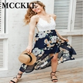 MCCKLE Women's Chiffon Lace Patchwork Floral Printed Slid Strap Summer Dresses 2017 Fashion Deep V neck Backless Beach Dress