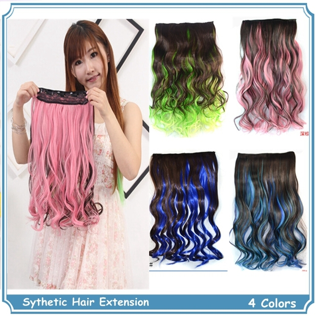 Ombre Clip In Hair Colorful Synthetic Rainbow Hair Extensions Long