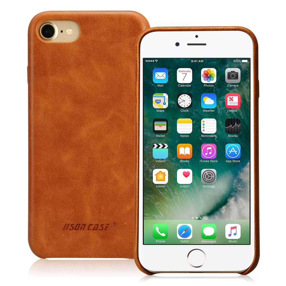 Jisoncase for iPhone 7 Case Cover Genuine Leather Luxury Phone Cases for iPhone 8 4 7