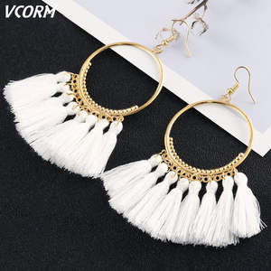 VCORM Tassel-Earrings Rope-Fringe Fashion Jewelry Ethnic Long-Dangle Trendy Women Cotton