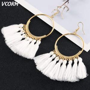 VCORM Tassel-Earrings Cotton Rope-Fringe Fashion Jewelry Ethnic Long-Dangle Trendy Bohemia