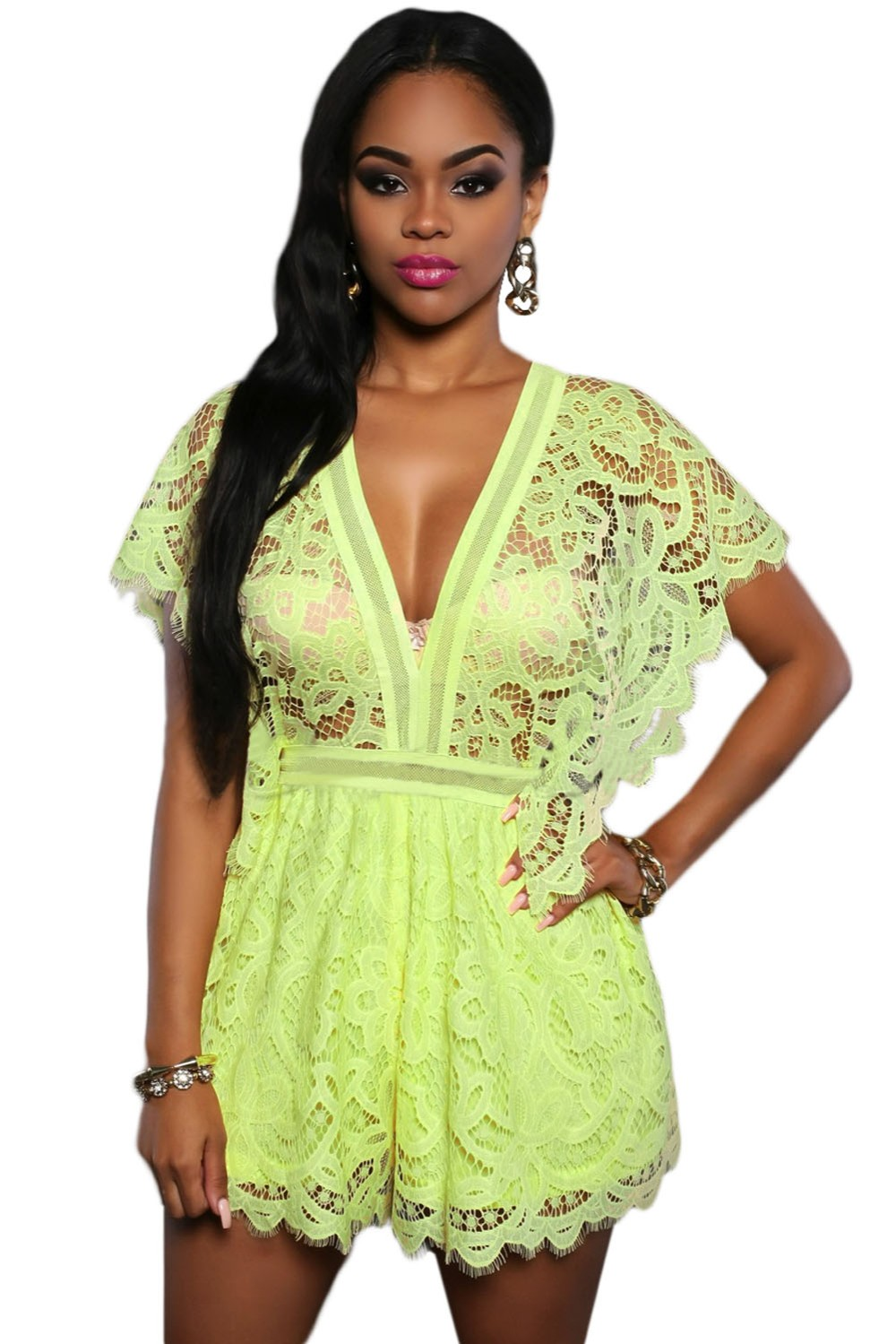 Fluorescent-green-Lace-Sheer-Top-Romper-LC64004-7-1