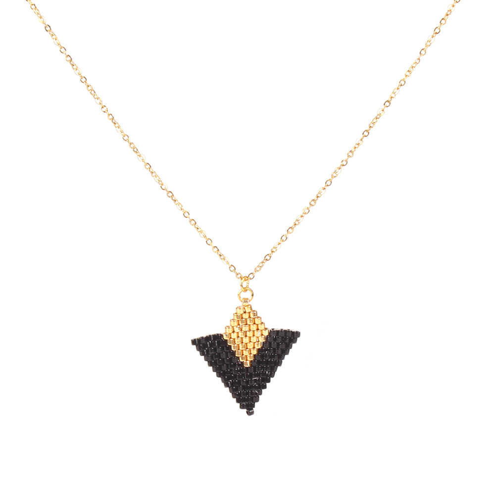 Go2boho Dropshipping MIYUKI Necklaces Triangle Pendant Necklace Black Jewelry Japan Seed Beads Chain Choker Women Gifts Handmade