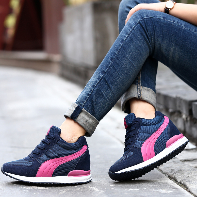 b031d4e640b4e3 015 Womens girls High Top High Increasing Lace up Ankle Boots Wedge Heels  Sneakers Shoes-in Fitness   Cross-training Shoes from Sports    Entertainment on ...