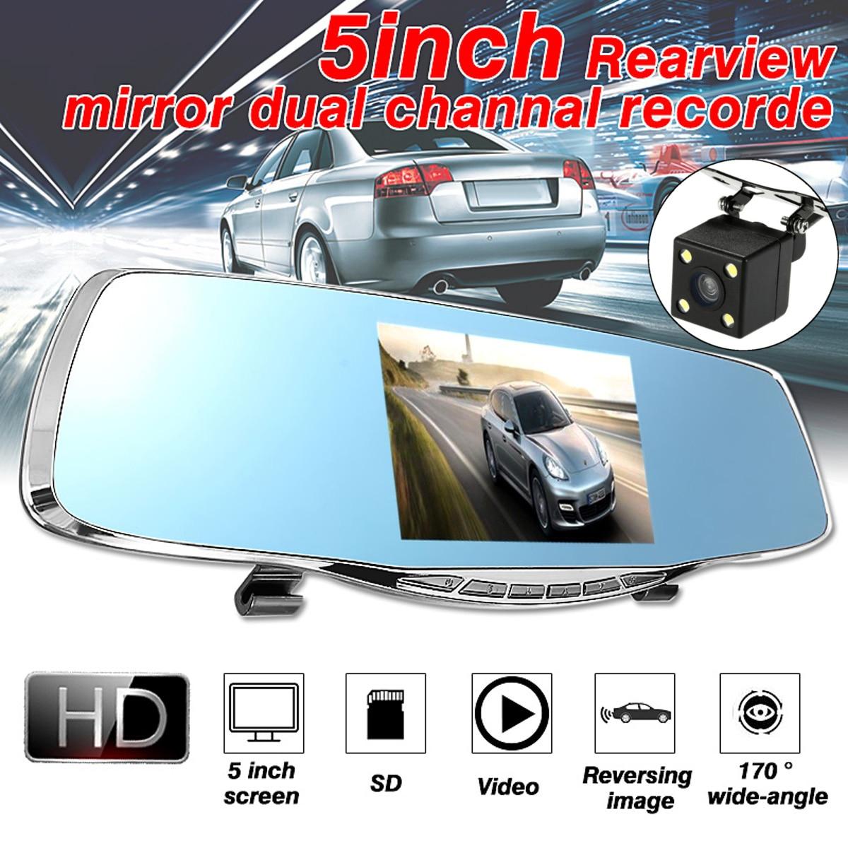 1080P HD 5 дюймов Видеорегистраторы для автомобилей Видео Ночное видение Зеркало заднего вида 170 градусов широкоугольный объектив регистратор...