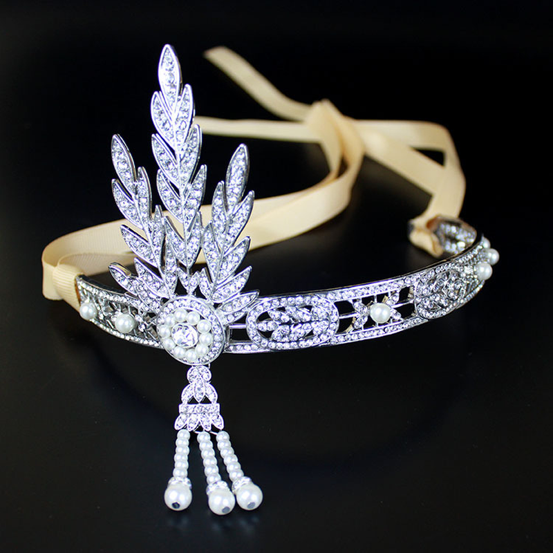 1920 S The Great Gatsby Aksesoris Rambut Mutiara Rumbai Daun Headpiece Pernikahan Kepala Perhiasan Bridal Kristal Hitam Tiara Crown