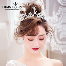Himstory Fairy Wedding Bridal Tiara Crowns Handmade Princess Sunflower Queen Style Pageant Crystal Pearl Hair Accessories