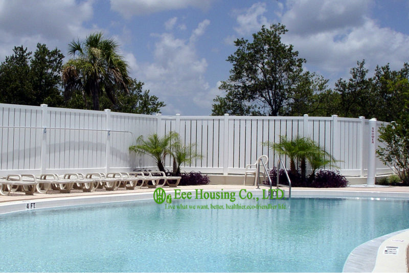 White Vinyl Semi Privacy Fence, Vinyl Pool Fencing, Vinyl Garden Fence Panels