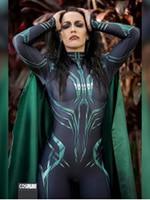 3D Print Hela Cosplay Costume Women Halloween Costumes Cosplay Thor Ragnarok Hela Zentai Spanbdex Bodysuit Custom made with Cape