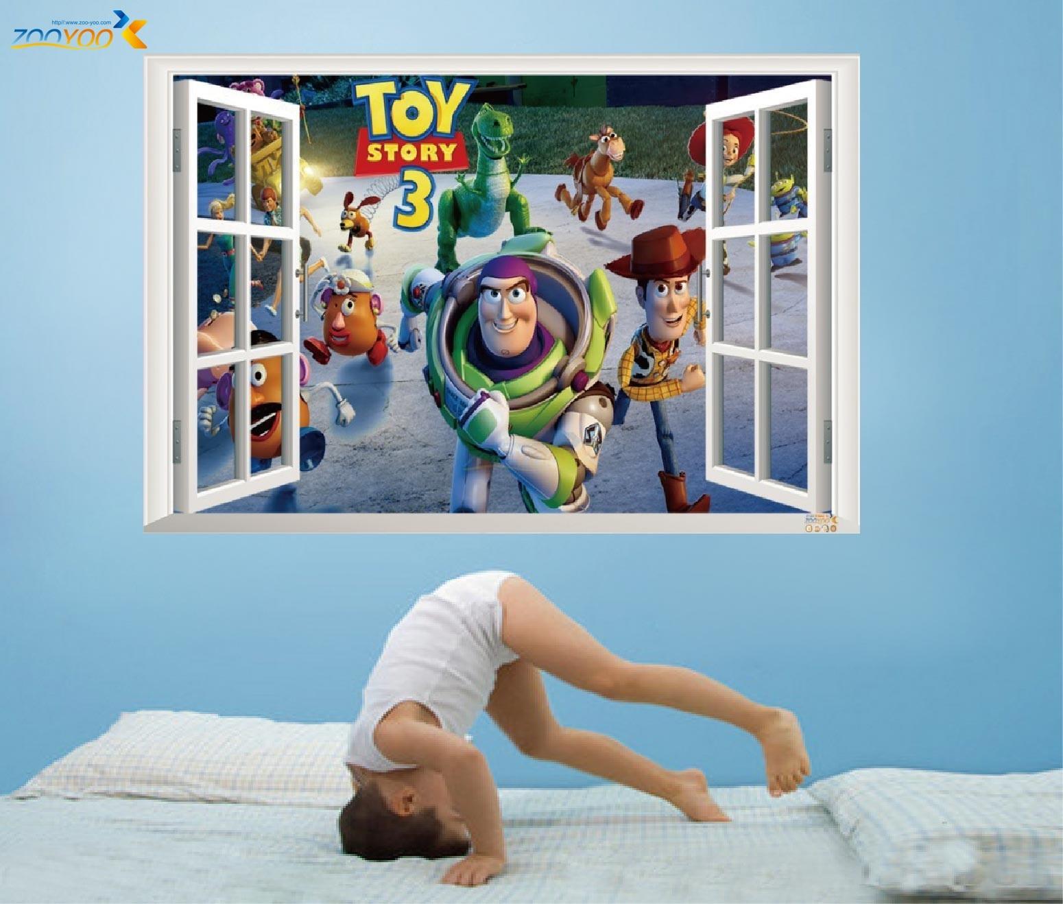 Mais vendido brinquedo história 3 dos desenhos animados 3d janela cenário decalques de parede adesivo para crianças quartos casa berçário crianças quartos decoração 1403