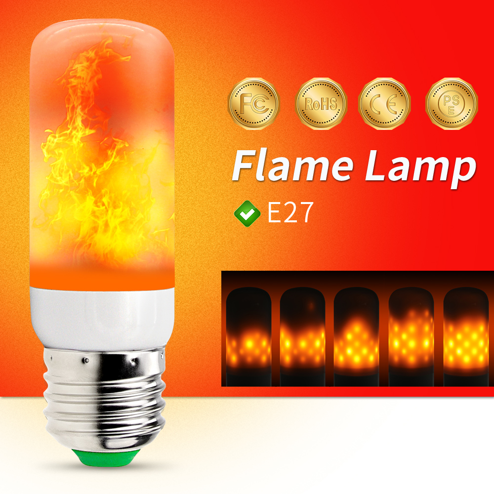 E27 LED Flame Effect Light Bulb 220V Flame Lamp Corn Bulb 2835 SMD Flickering LED Fire Light 110V 42leds Burning Light Holiday