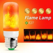 E27 LED Flame Effect Light Bulb 220V Flame Lamp Corn Bulb 2835 SMD Flickering LED Fire Light 110V 42leds Burning Light Holiday