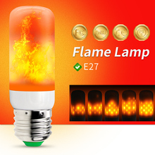 Lâmpada led com efeito de chama e27 220v, lâmpada milho, 2835 smd, luz de fogo led cintilante, 110v luz queima de 42leds feriados