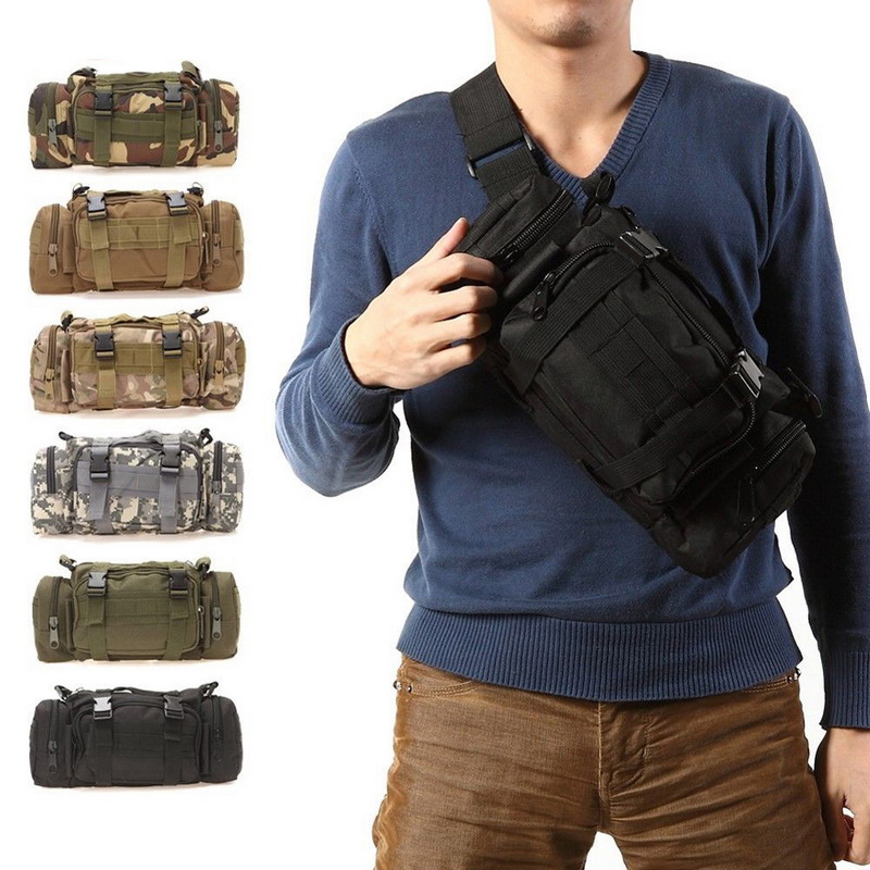 Hiking Outdoor Waist Bag 600D Waterproof Oxford Climbing Shoulder Bags Military Tactical Fishing Camping Pouch Bag Mochila Bolsa