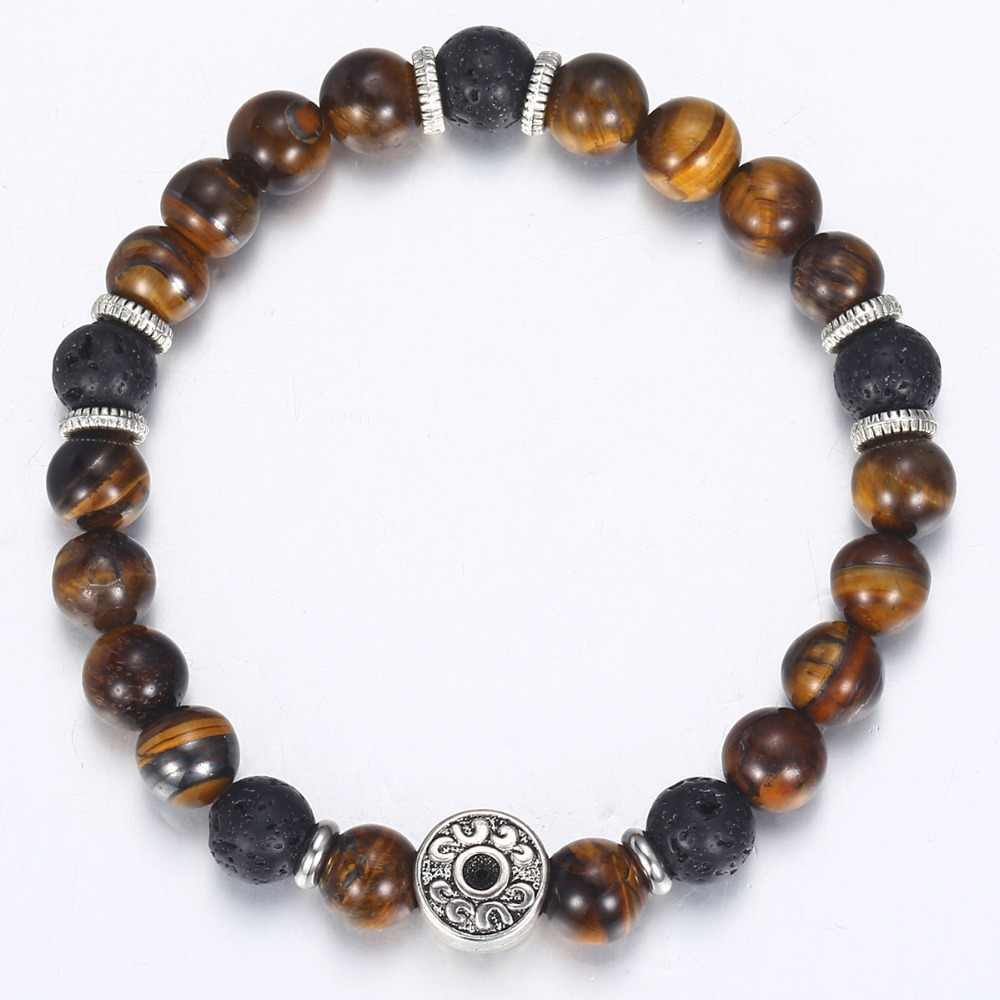 Tygrysie oko kamień bransoletka z koralików dla mężczyzn amulet ze stali nierdzewnej bransoletki biżuteria męska męska prezenty walentynkowe Dropshipping DB42