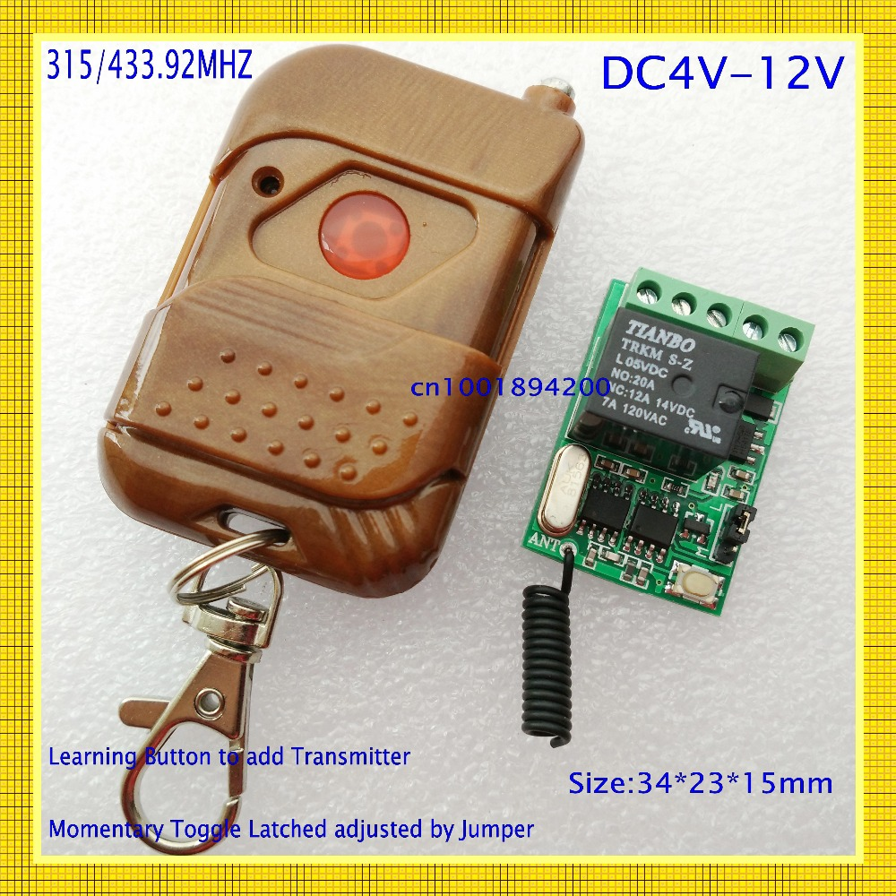Smart Home Remote Control Switch RF Radio Receiver ASK Learning Code Work with Broadlink 315/433.92 Mini 10A Relay 4V5V6V 9V 12V