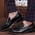 Planos de los hombres Zapatos de Cuero Genuinos Masculinos mocasines Slip on Suave Otoño Transpirable Zapatos Para Hombre mocasines de Negocio de La Boda de La Borla
