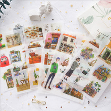 цены 6 Pcs/lot Cute Character building Stickers Kawaii Planner Diary Scrapbooking Sticker Stationery School Supplies