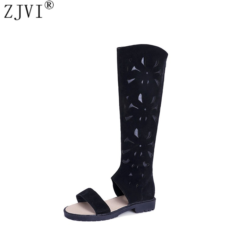 ZJVI woman fashion suede summer thigh high boots women cut outs knee high boots 2018 womens nubuck shoes black sandals morazora 2018 new high quality cut outs women s summer boots high heels knee high women sandals solid color ladies shoes woman