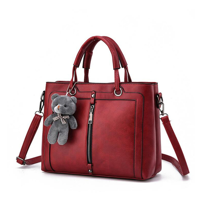 Women Crossbody Shoulder Bag Female Handbags Medium Large Capacity Ladies Totes Teddy Bear Strap Thread Shopping Office Bag