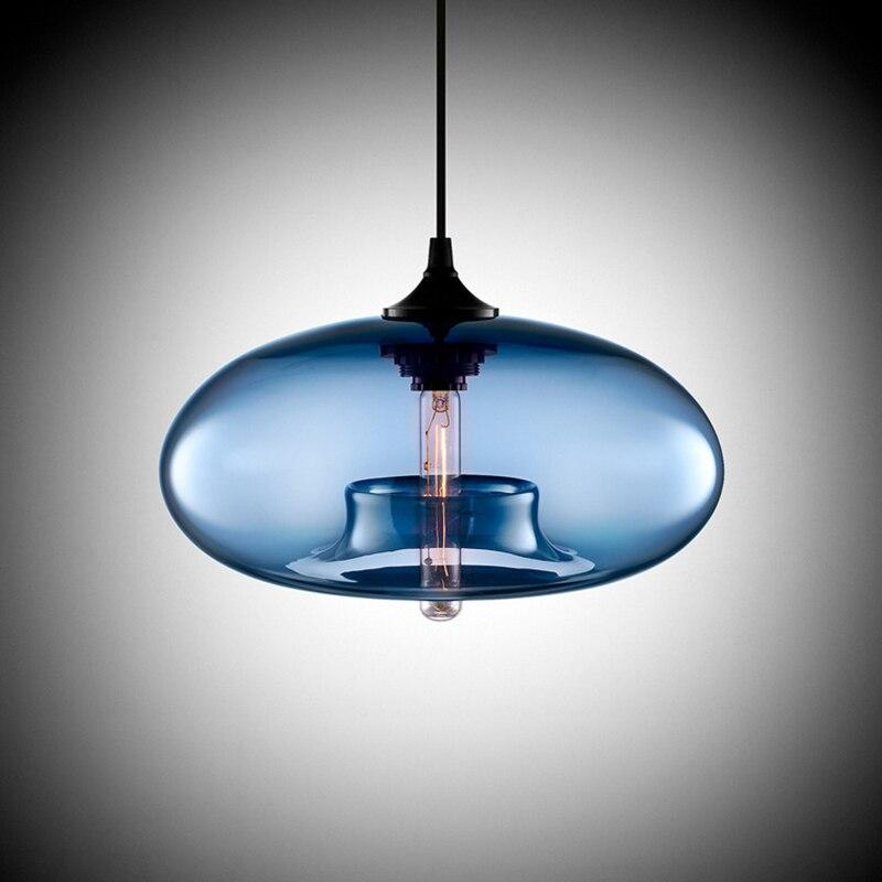 Art déco moderne suspendus verre coloré e27/e26 suspension avec led lumières cordon pour restaurant salon cuisine bar café
