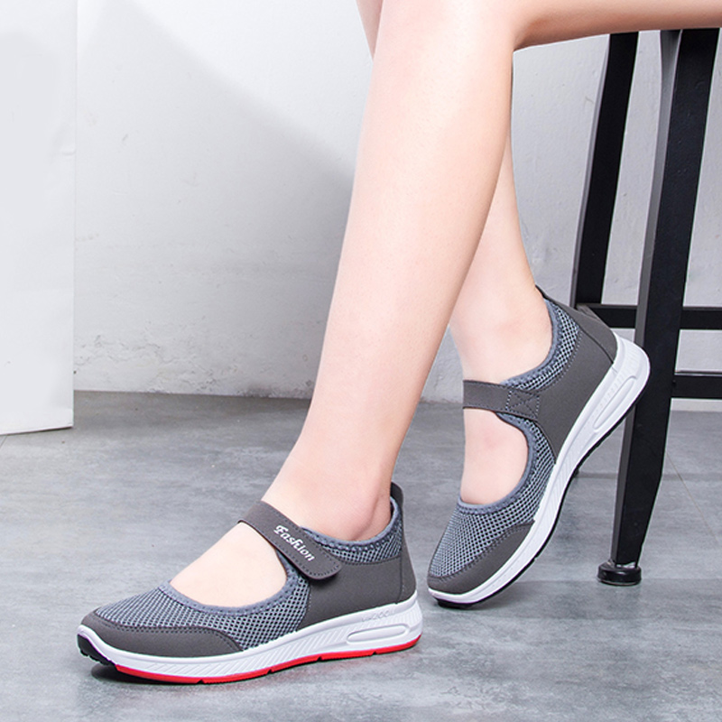 2019 New Women Casual Hollow Out Mesh Flat Shoes Casual Spring Autumn Platform Hook Loop Knit  Ladies Leisure Footwear
